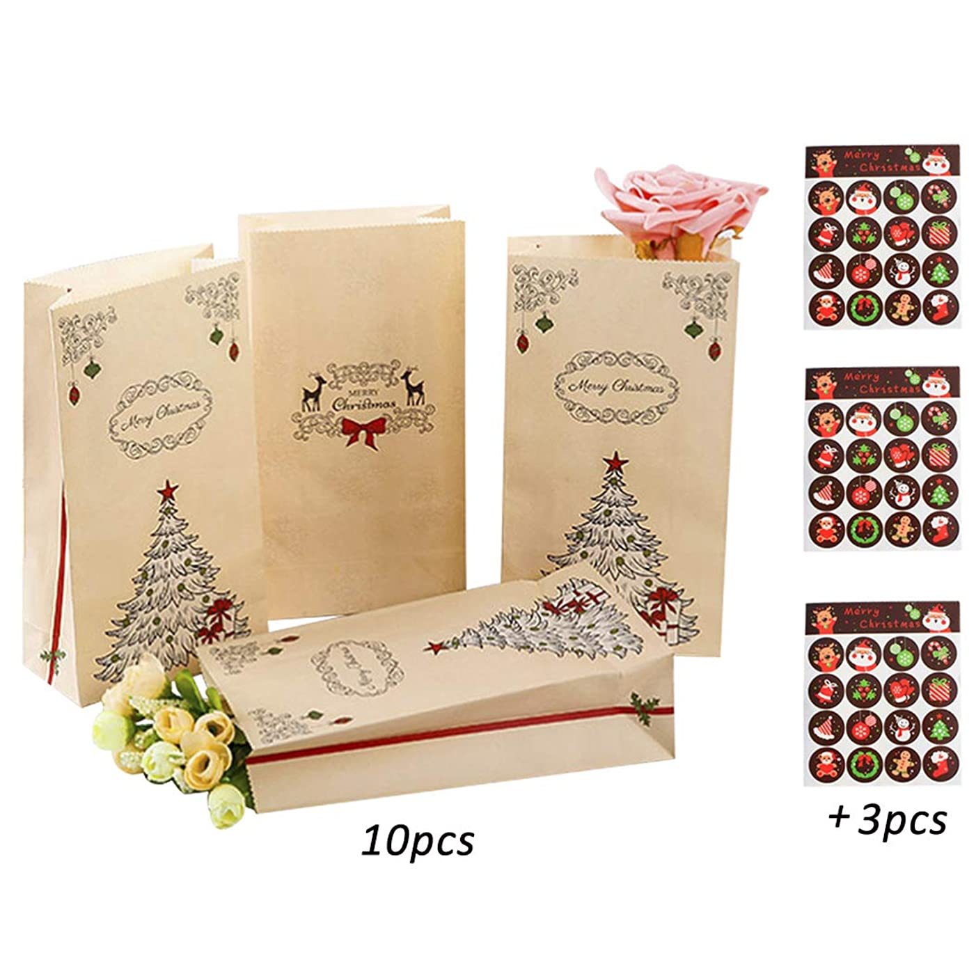 iSuperb 10 Pieces Christmas Gift Bags Random Style with 3 Sheets Christmas Sticker Packs for Kids Christmas Decoration (10 Pieces)