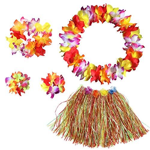 ARANCIONE erba Hula Gon na 40 cm o 80cm con fiori HAWAIANO LUAU FANCY DRESS
