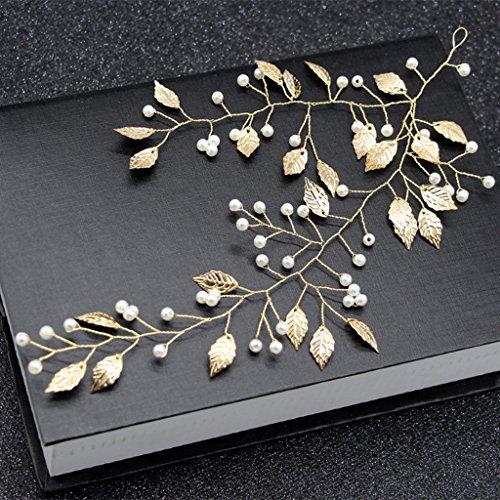 niumanery Bride Hair Band Golden Leaves Pearl Women Jewelry Wedding Headband Luxury Decor