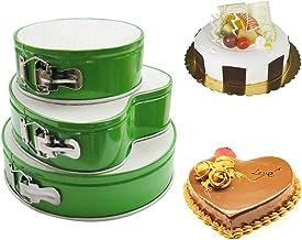 "JACKBAGGIO 7"" 9"" 10'' Three Pieces New Metallic Pans Set,Cake Mould Tins Round/Heart-Shaped Cake Pan Set Non-Stick & Leakp..."