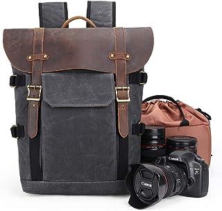 Kameraryggsäck, kanvas SLR DSLR kameraväska stor kapacitet frontöppning vattentät anti-chock kamera ryggsäck kamera resväs...