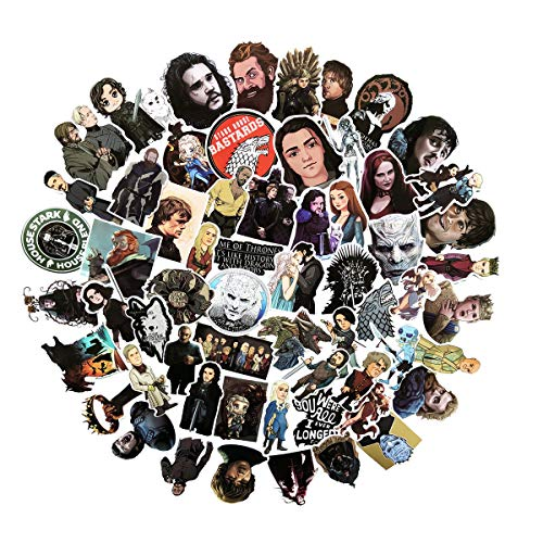 60pcs Game of Thrones Stickers Laptop Computer Bedroom Wardrobe Car Skateboard Motorcycle Bicycle Mobile Phone Luggage Guitar DIY Decal (Game of Thrones 60)