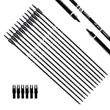 Tiger Archery 30Inch Carbon Arrow Practice Hunting Arrows with Removable Tips for Compound & Recurve Bow(Pack...