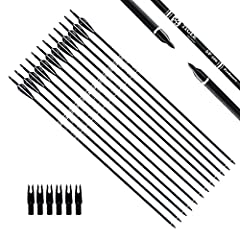 "Length:30"", Outer diameter: 0.309 inch. Fletching with 2 black 1 white vanes. For draw weight 40-60 pounds recurve, compound, or long bows. They are solid & well made. Precision carbon hunting arrows made for extended durability and long lasting targ..."