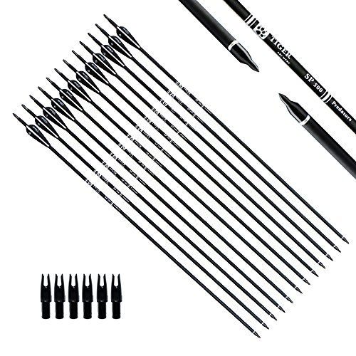 Tiger Archery 30Inch Carbon Arrow Practice Hunting Arrows with Removable Tips for Compound & Recurve Bow