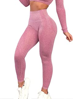 Women's High Waist Seamless Leggings Ankle Yoga Pants Tummy Control Running Workout 4 Way Stretch Tights