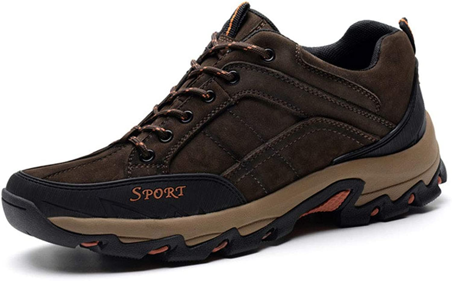 Men Hiking shoes Leather Scrub Low Boots shoes lace up Warm Non-Slip Large Size Sports shoes Winter Outdoor