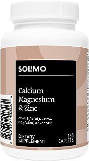 Amazon Brand - Solimo Calcium, Magnesium & Zinc, Calcium 1000 mg, Magnesium 400mg, Zinc 15mg per Serving (3 Caplets), 150 Caplets