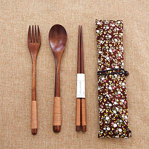 Youyu77 3Pcs Spoon Fork and Chopsticks Set Wooden Natural Cutlery Wooden Chopsticks Spoon Fork Set, 8.5Inch,Kitchen,Dining Bar Tableware Kitchen Accessories Kitchen Dining Bar