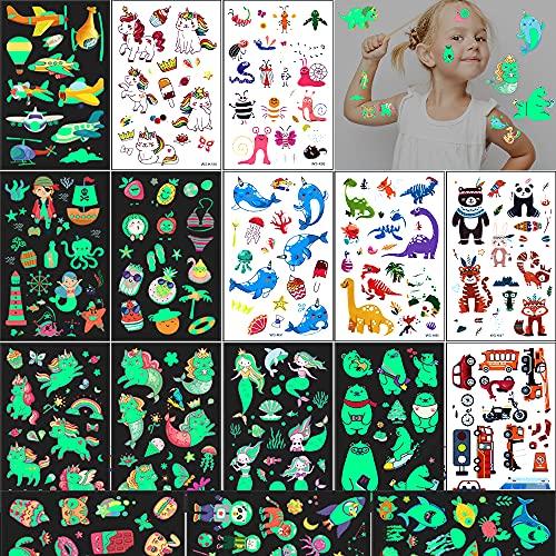 Tattoo Kinder 16 Seiten 240 Kindertattoos Aufkleber Glow in the Dark Cartoon Mixed Style Kinder Tattoos Stickers,Dino Nixen Einhörner Eisbär Katzen Temporäre Tattoos,Lustige Kinder Party Geschenke