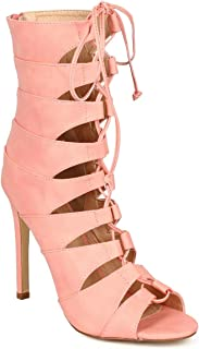 689357c82d249 Liliana Women Leatherette Peep Toe Lace Up Gladiator Stiletto Ankle Boot  CI13 - Coral