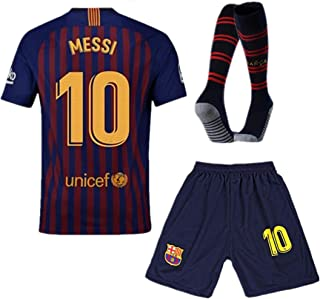 Barcelona #10 Messi Home Kids and Youth Soccer Jersey & Shorts & Socks Color Blue/Red