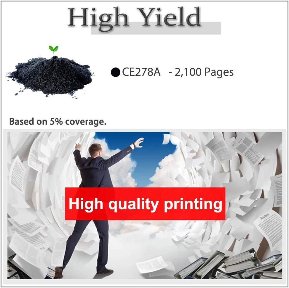 6-Pack Compatible High Yield (2,100 Pages) 78A (CE278A) Toner Cartridge (6 Black) Used for HP P1606DN M1536 P1560 P1566 P1606 MFP M1536DNF Printer