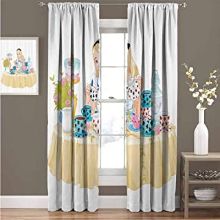 EDZEL Window Curtain, Great for Living Rooms and Bedrooms, Alice in Wonderland Decorations Collection, Alice Pours Cup of Tea Eats Cupcakes Flowers Pottery Wonderland Fantasy, 108