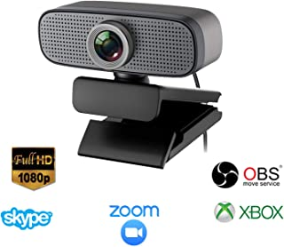 Full HD Webcam 1080p, USB Streaming Webcam, Computer Laptop Camera for Online Teaching, Distance Learning, Remote Working, Video Calling Compatible for Mac OS Windows 10/8/7