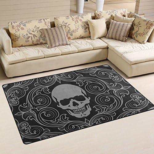 LORVIES Skull Pattern Area Rug Carpet Non Slip Floor Mat Doormats for Living Room Bedroom 31 product image