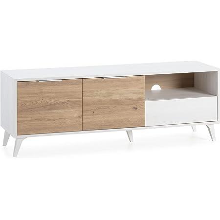 VS Venta-stock Meuble TV Koln 2 Portes et 1 tiroir,Couleur Blanc brossée et Bois 136,5 cm (Largeur) 40 cm (Profondeur) 48,5 (Hauteur)
