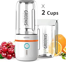 GREENIS Upgrade Portable Personal Sized Blenders - Magnetic Rechargeable - Waterproof Smoothie and Shakes Maker - DIY Vegetable Fruit Juice - with 2 Cups for Home Office and Travel