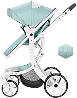 UEHGMD Baby Cart, 2 in 1 Baby Stroller Foldable Jogger Carriage Infant Travel System PU Pushchair X-Type High-View Stroller Can Be Used in Both Directions (Color : E)