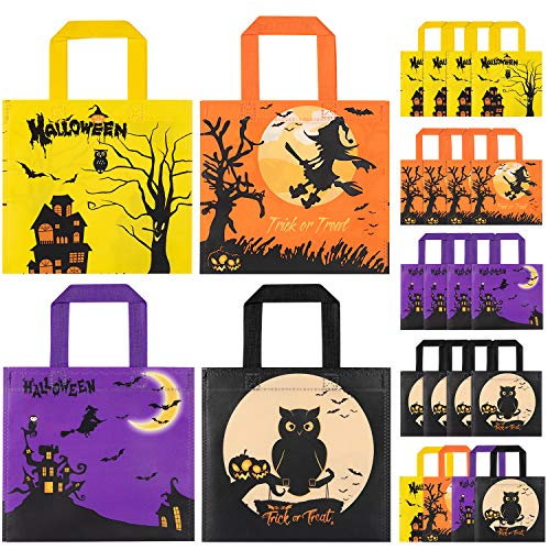 Bolsas de golosinas de Halloween para fiestas, 24 bolsas impermeables para dulces de Halloween para niños para trucos o golosinas,bolsas de golosinas de Halloween Bolsas de dulces para fiestas