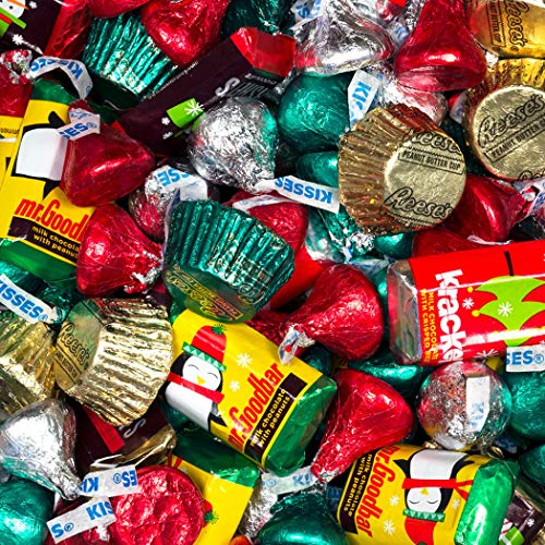 5lb Christmas Candy Hershey's Holiday Mix (Approx 300 pcs) - Hershey's Miniatures, Kisses and Reese's Cups