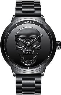 GIMTO Creative 3D Skull Men's Watch Cool Stainless Steel Big Dial Vintage Boy Quartz Military Wristwatch (Black 3D skull)
