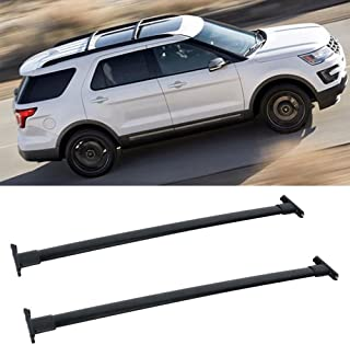 VIOJI 1 Pair Black Aluminum Mount Onto the Rooftop Roof Rack Cross Bars Top Rail Carries Luggage Carrier with 44.92in. Longer Bar+43.98in. Shoter bar for 11-15 Ford Explorer
