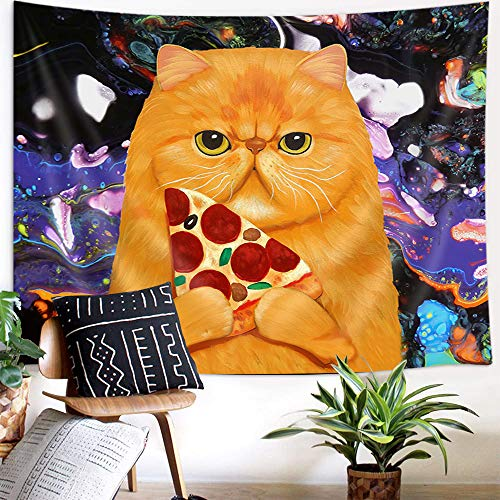 Funny Cat Tapestry Psychedelic Trippy Pizza Tapestry Wall Hanging Hippie Bohemian Wall Tapestry Purple Art Tapestry for Bedroom Aesthetic Colorful Wall Hanging Tapestry for Livingroom Dorm, 60X40in