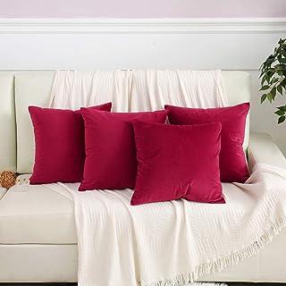 Fireworx Velvet Soild Throw Pillow Covers Set of 4 Cushion Cases Pillowcases 18 x 18 Inches,Wine