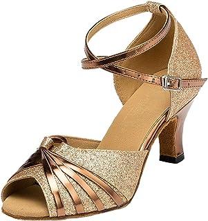 wealsex Donna Standard Tacco di 6 cm Pelle Resistente all'Usura Scarpe da Ballo Latino Donna