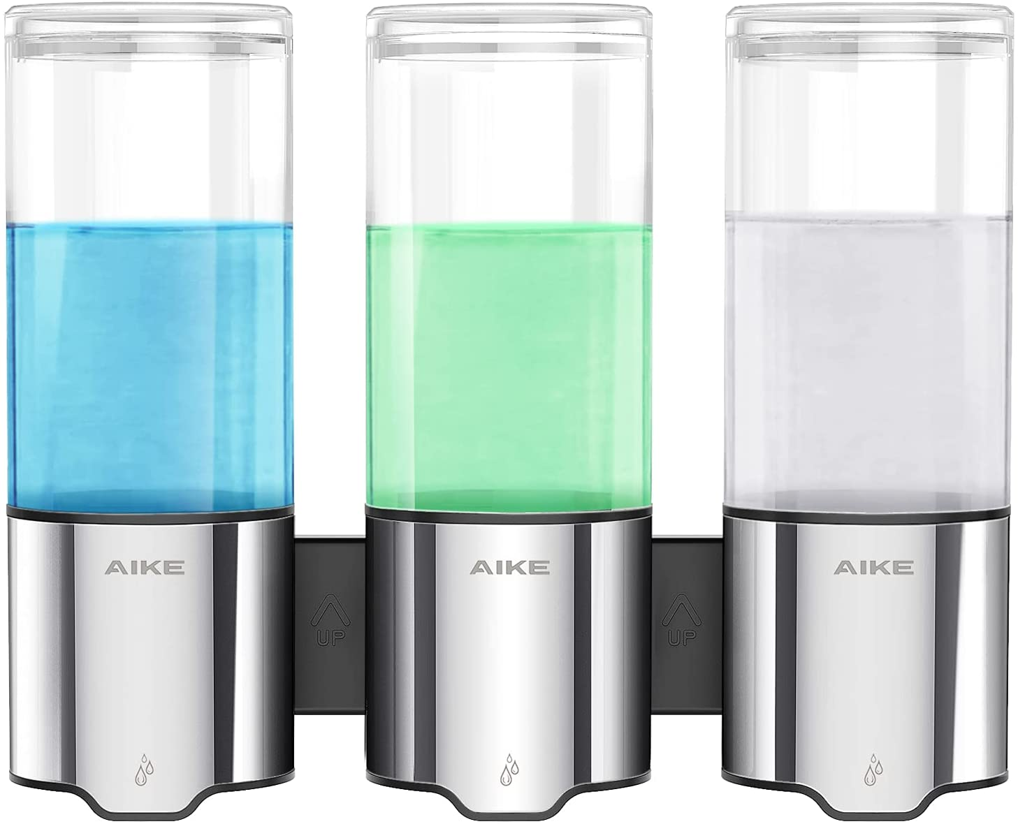 AIKE Triple Automatic Soap and Shower Dispenser Wall Mount 3 Chambers IPX7 Waterproof 3 x 17 fl oz.