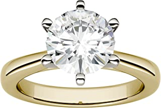 Moissanite by Charles & Colvard 8.0mm Round 6-Prong Solitaire Engagement Ring, 1.90cttw DEW