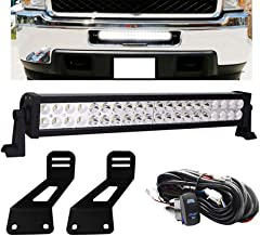 Dasen 22 Inch Straight LED Light Bar w/Wiring kit & Lower bumper Grille Insert Hidden Bumper Mount Brackets Fit 2011-2014 Chevrolet Silverado 2500/3500