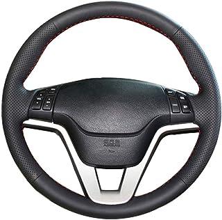 Qwjdsb Für Honda CRV CR V 2007 2008 2009 2010 2011, Schwarze handgenähte Handlenkradabdeckung aus Kunstleder