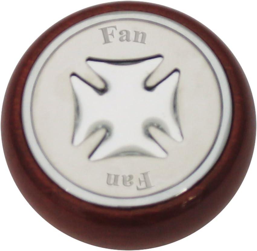 GG Grand General 95423 Wood Dashboard Knob w//Green Iron Cross /& Stainless Steel Fan Plate