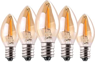 C7 LED Bulb, 0.5W Light Candle Bulbs, Amber Glow 5w Incandescent Replacements E12 Candelabra Base led Filament Night Bulb Ultra Warm White 2200K Decorative String Edison Lamp Non-Dimmable 5 Pack