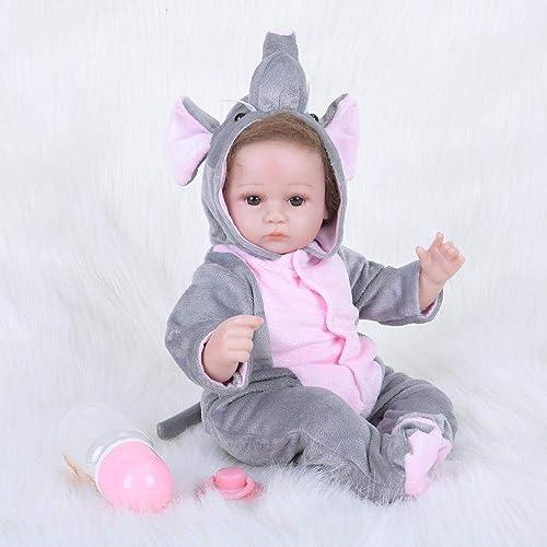 Hongge Reborn Baby Doll,Lebensechte Silikon Reborn Puppe lebensecht Baby Wiedergeburt Puppe Kinder Spielzeug Geburtstagsgeschenk für Weißnachten 42cm