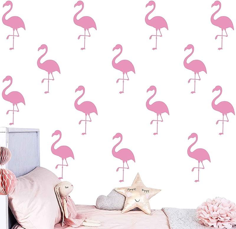 Melissalove 30Pcs Flamingo Wall Decor Stickers Removable Kids Nursery Vinyl Wall Decal Baby Nursery Girl Bedroom Wall Art Wallpaper D364 Light Pink