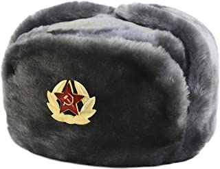 Russian Soviet Army Fur Military Cossack Ushanka Hat with Soviet Soldier Insignia