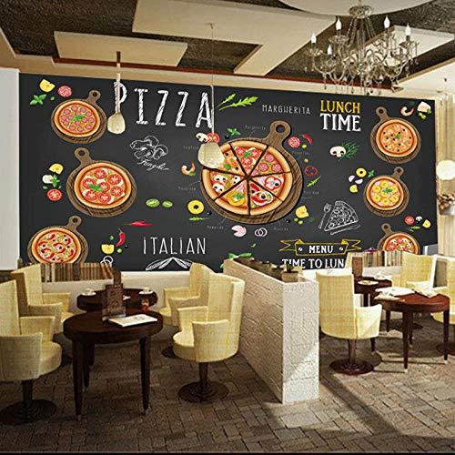 TDYNJJ Mural Adesivi Murali - Carta Da Parati 3D Effetto - Pizza Astratta Disegnata A Mano Della Pizzeria - Carta Da Parati Fotografica - Poster Da Parete Autoadesiva 3D