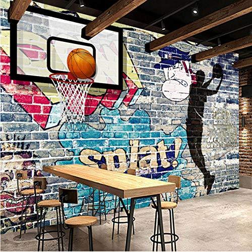 Wuyii Cartoon Camera Dei Kinder Basketbal Graffiti muurschildering, fotobehang voor bar, sala, van kersenhout 250x175cm