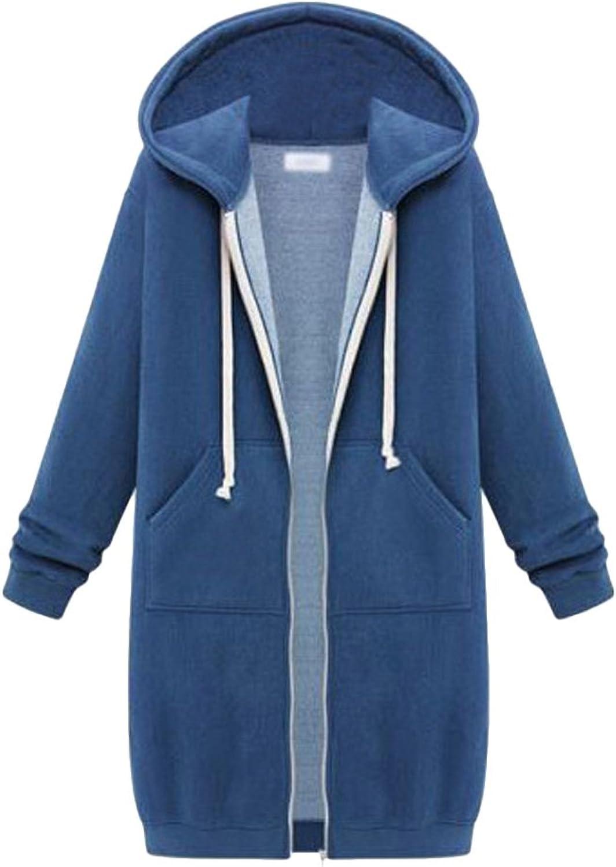 Annystore Women Casual Zip up Hoodie Pockets Drawstring Long Fleece Hoodie Sweatshirt Jacket Coat