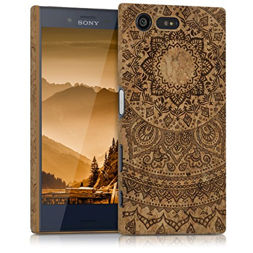 kwmobile Hülle kompatibel mit Sony Xperia X Compact - Kork Handyhülle - Handy Hülle Cover Schutzhülle Indische Sonne Dunkelbraun Hellbraun