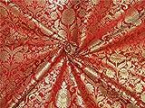 TheFabricFactory schwere Seide Brokat Stoff rot X Metallic