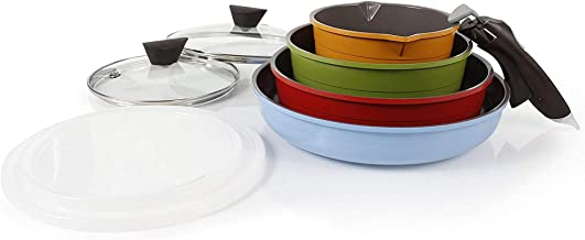 Neoflam 52101 Midas 9-Piece Ceramic Nonstick Cookware Set with Detachable Handle, Multicolored, Space-Saving