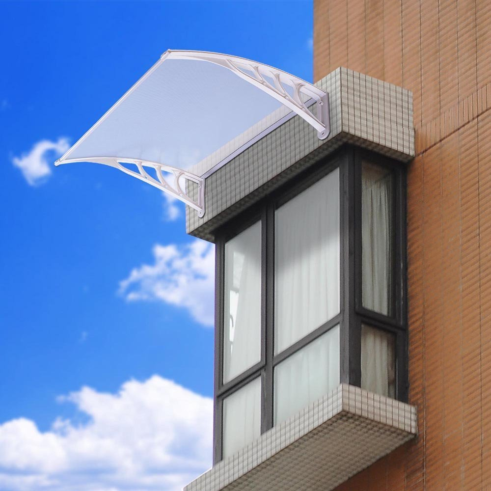 3ft Outdoor Clear PC Hollow Awning Cover Canopy Window Door w//White ABS Bracket for Patio Weather Resistance Sun Shade UV Rain Snow Protection