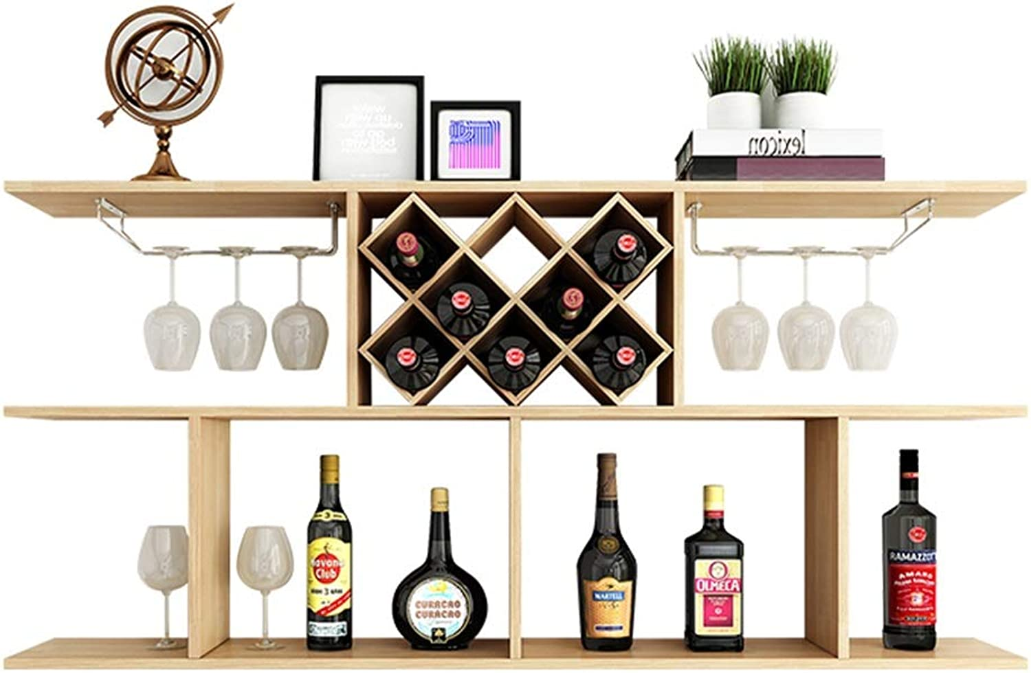 Wine Cabinet Wall Hanging Rack Diamond-Shaped Wine Restaurant Wall-Mounted Household Wine Rack (color   Brown, Size   100  20  67CM)