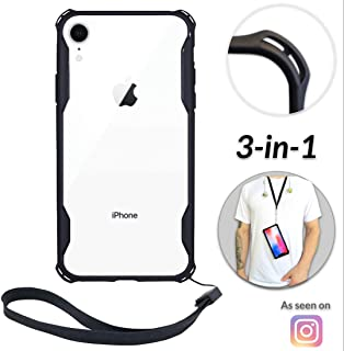 New iPhone XR Clear Slim Case with Wrist Strap & Lanyard | Best Rugged TPU Bumper Case | Strong Loop Hole Attachments for Wrist Leash, Tether Holder etc – iPhones: Xs X Xr Xs Max X 8 7 6 6s Plus
