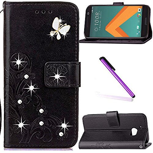 HTC 10 Case,HTC One M10 Case,HTC M10 Case,LEECOCO 3D Bling Crystal Diamonds Lucky Clover Floral with Card Slots Flip Stand PU Leather Wallet Case for HTC 10, Diamond Clover Black