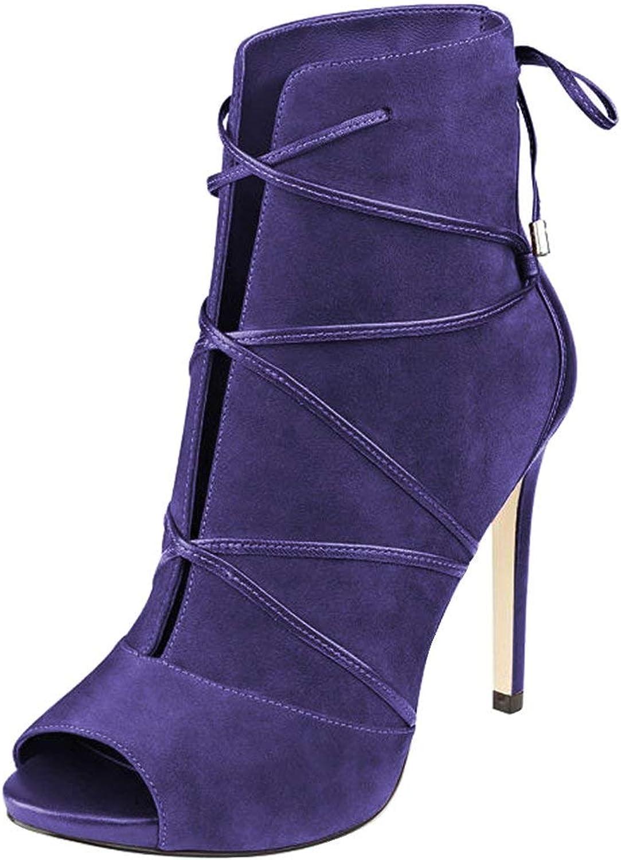 YDN Women Peep Toe Faux Suede Ankle Booties Platform Stiletto Heels Lace Up Cutout Comfort shoes